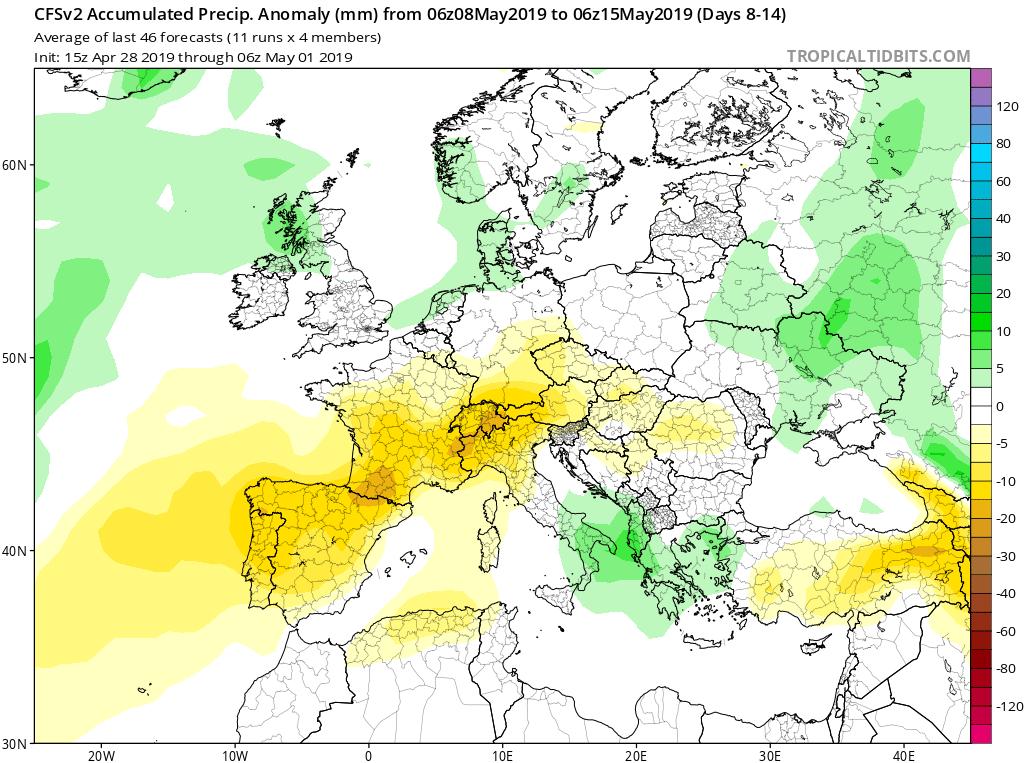 Modelos de precipitaciones semanales Mayo GFS 2S Jose Calvo. Meteosojuela La Rioja.