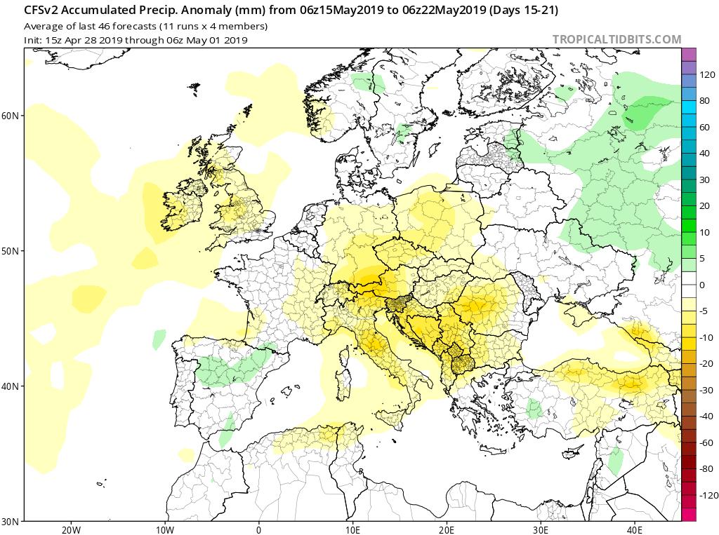 Modelos de precipitaciones semanales Mayo GFS 3s Jose Calvo. Meteosojuela La Rioja.