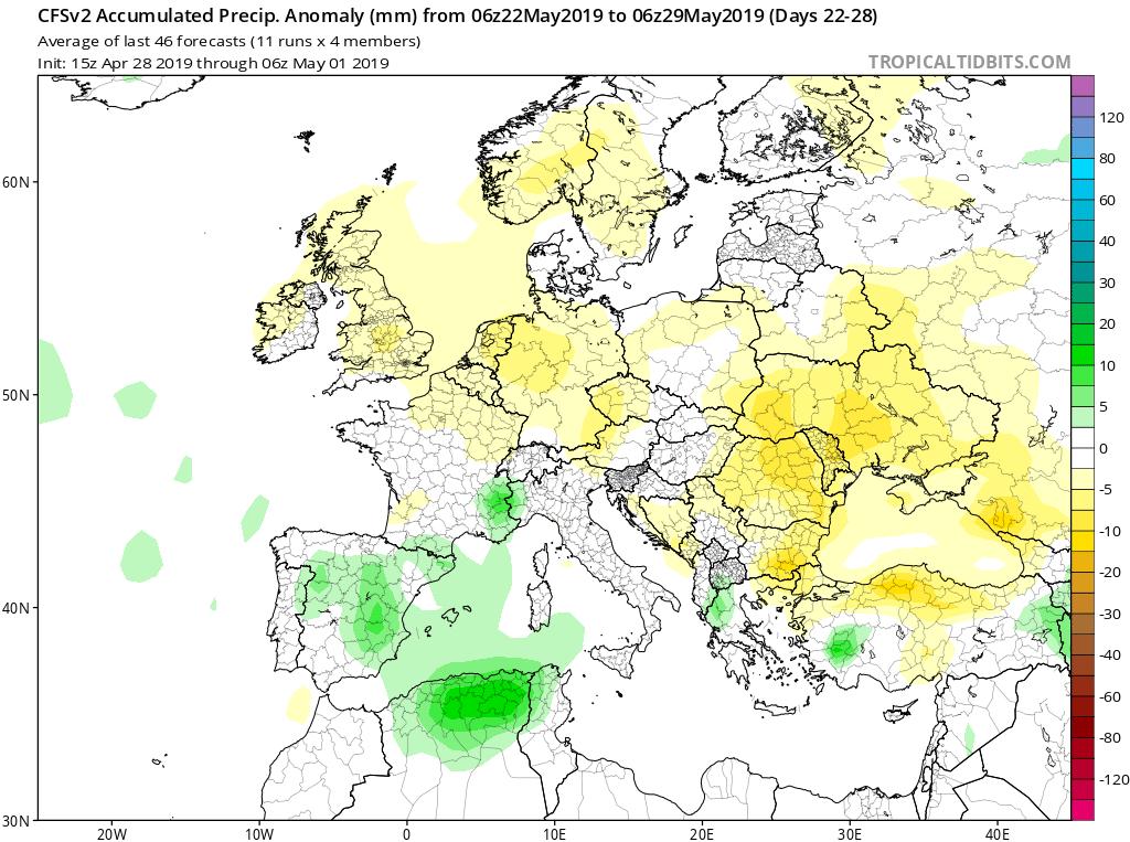 Modelos de precipitaciones semanales Mayo GFS 4S Jose Calvo. Meteosojuela La Rioja.