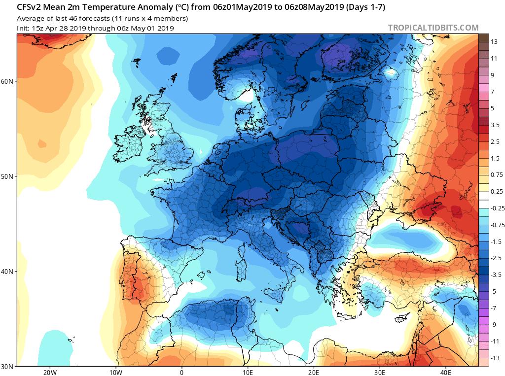 Modelos de temperaturas semanales Mayo GFS 1S Jose Calvo. Meteosojuela La Rioja.
