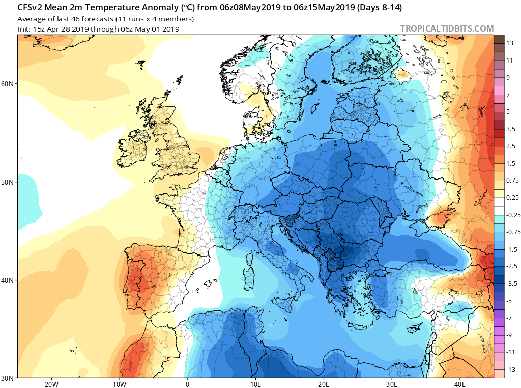 Modelos de temperaturas semanales Mayo GFS 2 S Jose Calvo. Meteosojuela La Rioja.