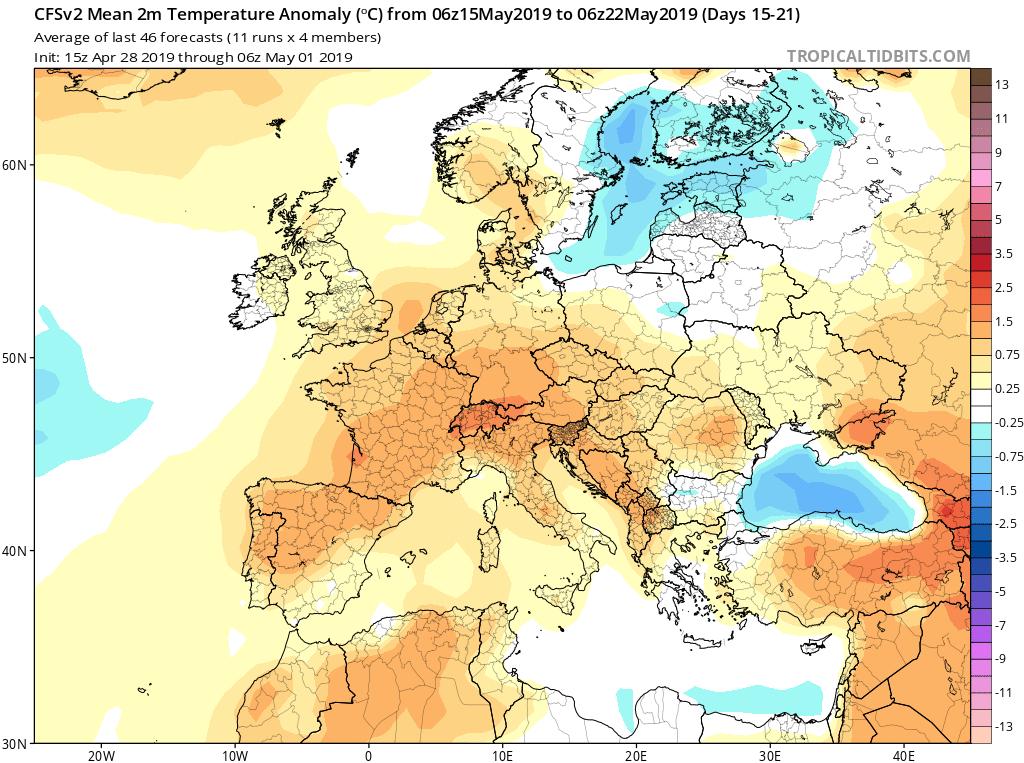Modelos de temperaturas semanales Mayo GFS 3 S Jose Calvo. Meteosojuela La Rioja.
