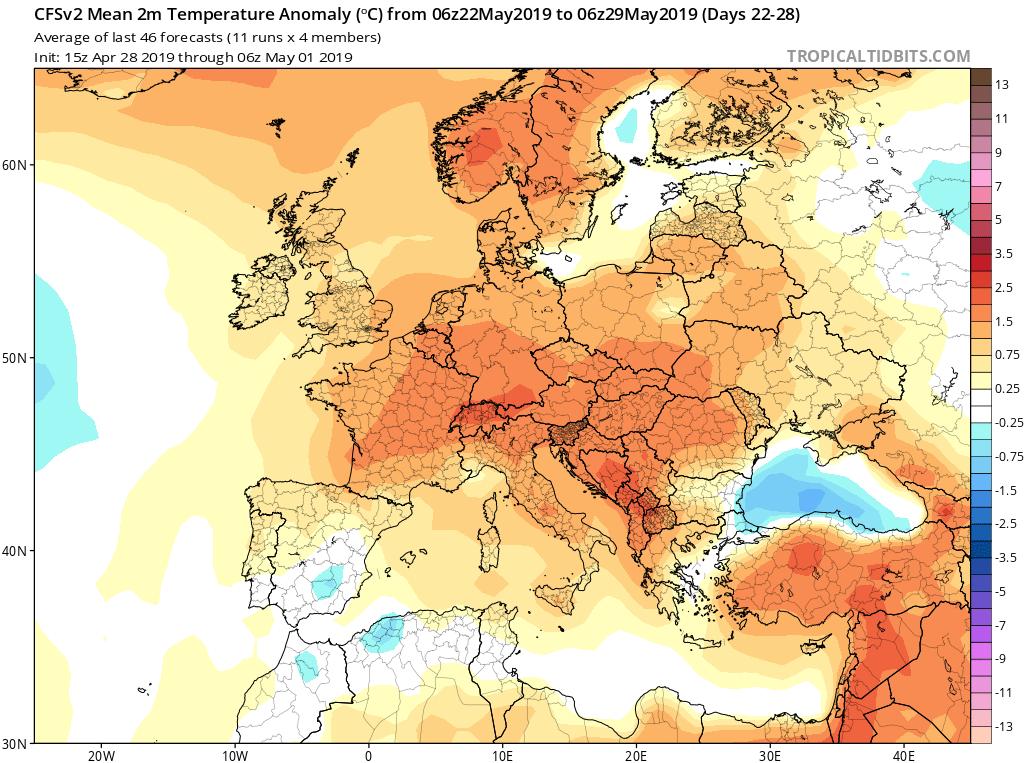 Modelos de temperaturas semanales Mayo GFS 4 S Jose Calvo. Meteosojuela La Rioja.