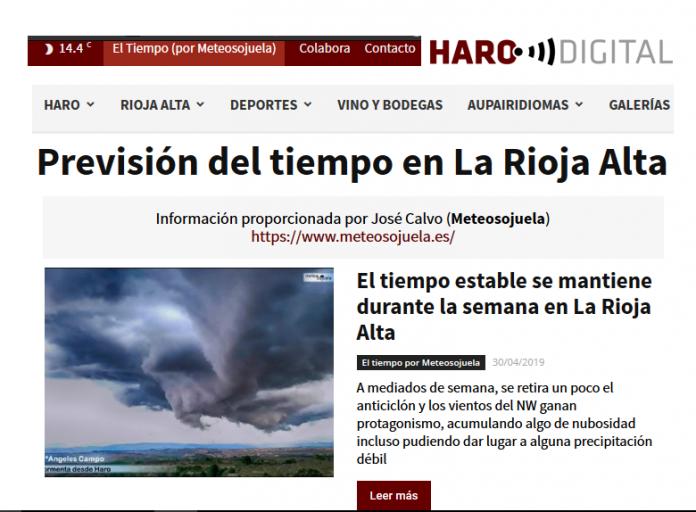 Portada Harodigital.com 30042019 Meteosojuela. La Rioja
