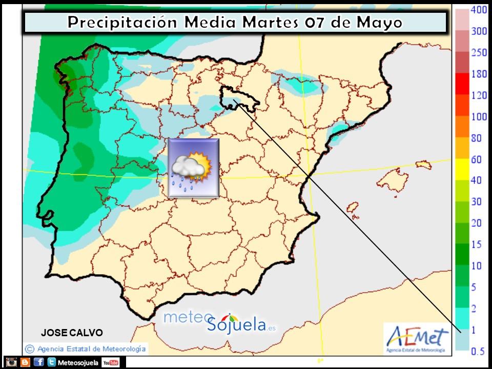 Precipitación Media según AEMET. Meteosojuela La Rioja