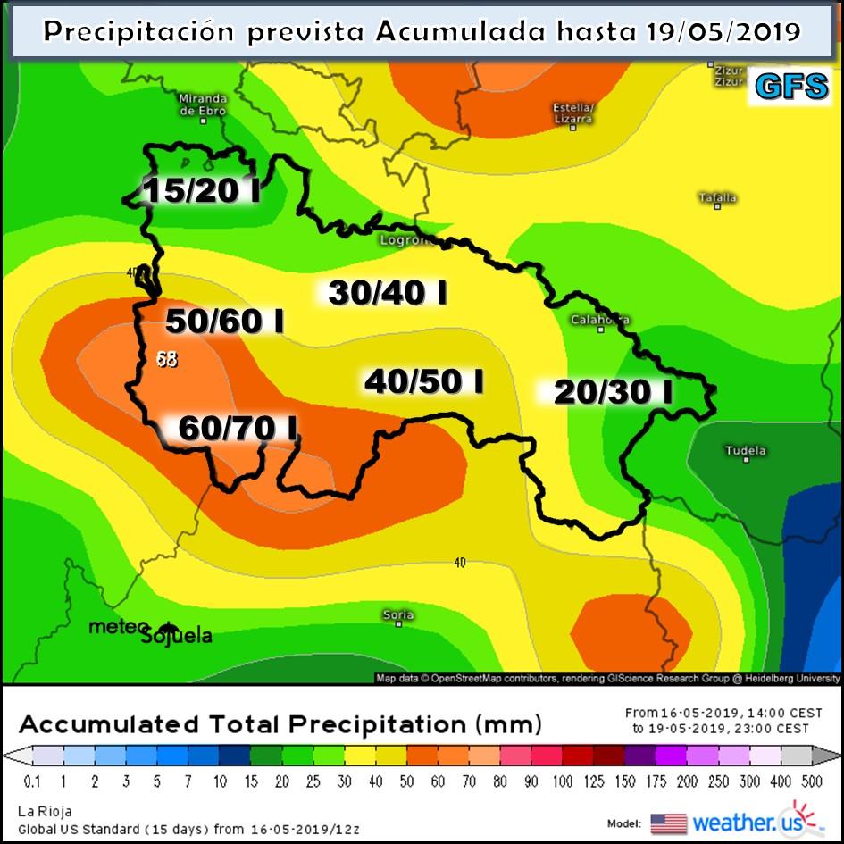 Precipitación acumulada GFS .Meteosojuela