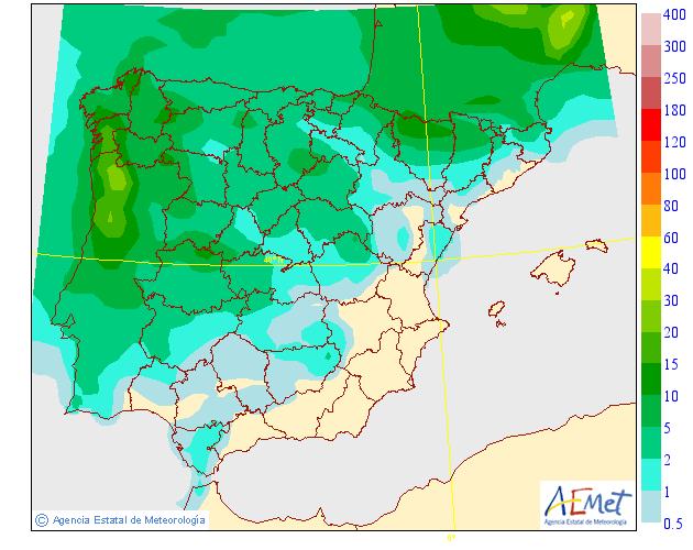 Precipitación media AEMET. 08 Meteosojuela La Rioja