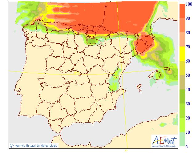 Probabilidad de precipitación AEMET. 28 Meteosojuela La Rioja