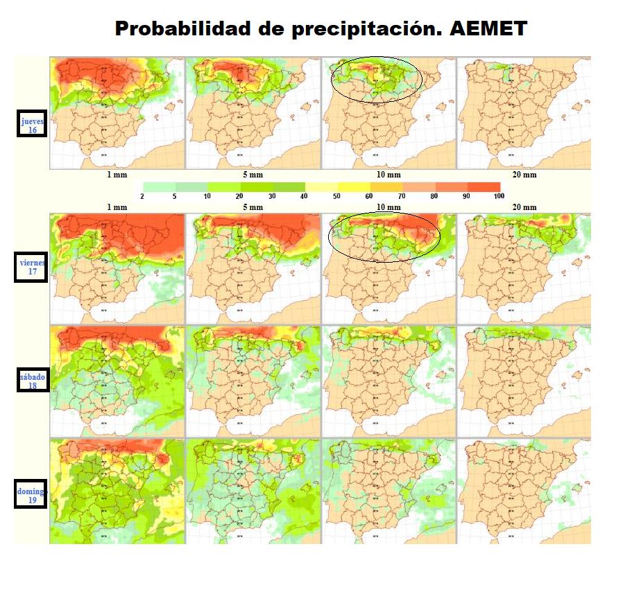 Probabilidad de precipitación según AEMET. Meteosojuela.