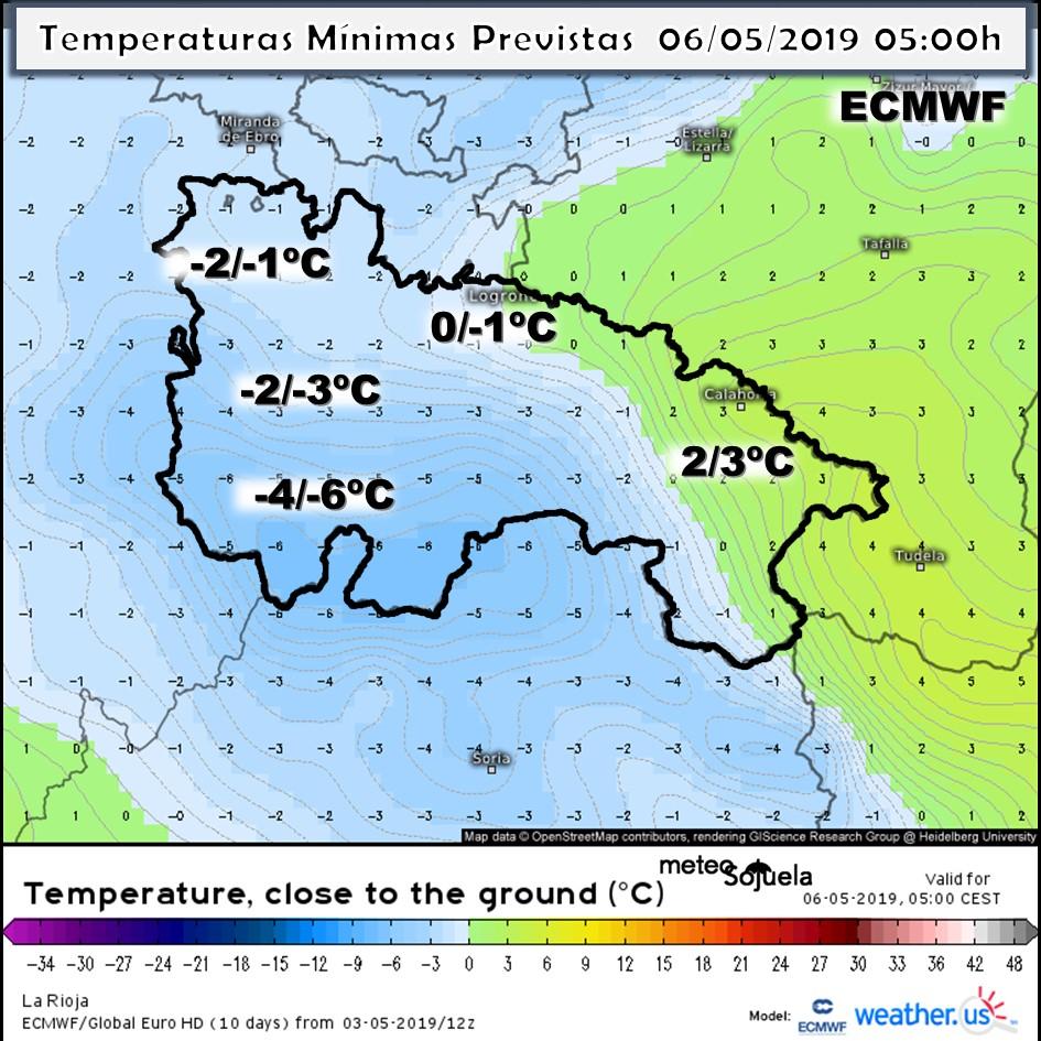 Temperaturas Mínimas modelo ECMWF. Meteosojuela