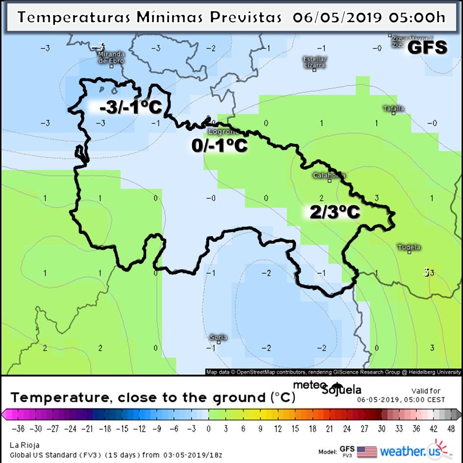 Temperaturas Mínimas modelo GFS. Meteosojuela