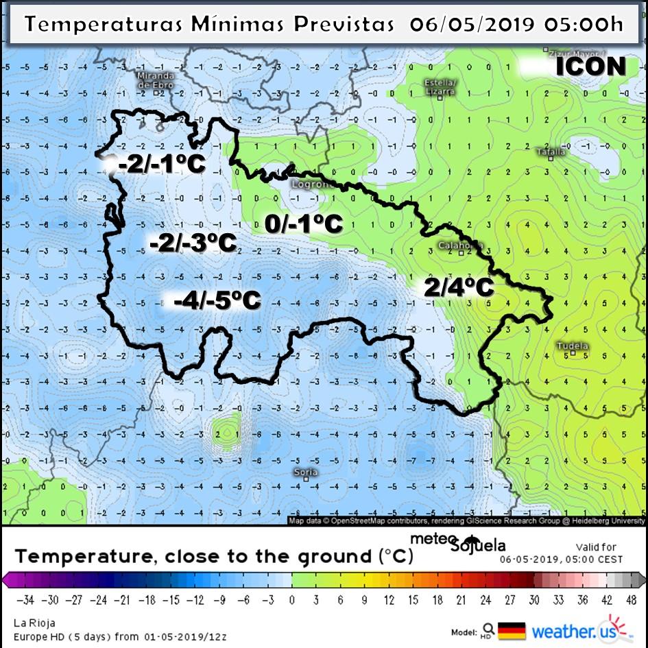 Temperaturas Mínimas modelo ICON. Meteosojuela