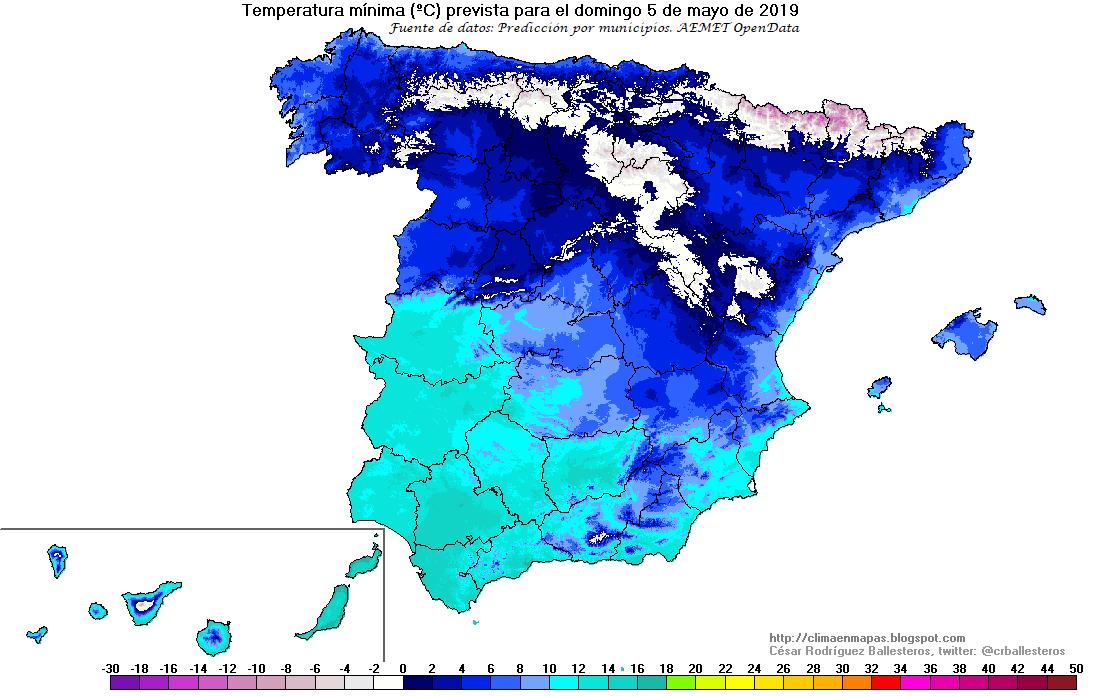 Temperaturas mínimas Domingo AEMET. Meteosojuela
