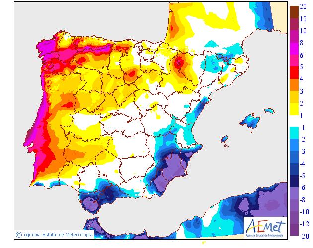 Variación de temperaturas máximas AEMET 12 Meteosojuela