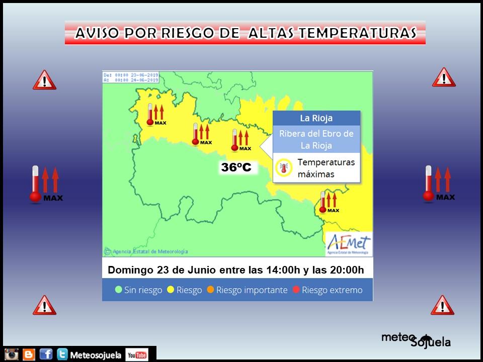AVISO por Temperaturas Máximas. AEMET. Meteosojuela.