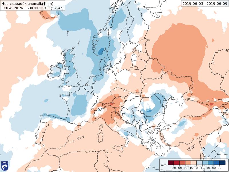 Anomalías Precipitación Junio 1 semana ECMWF