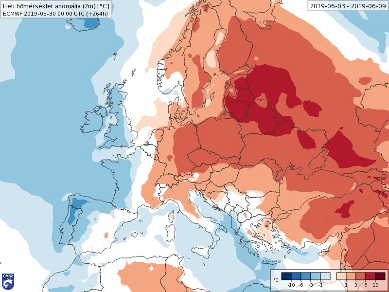 Anomalías Temperaturas Junio 1 semana ECMWF