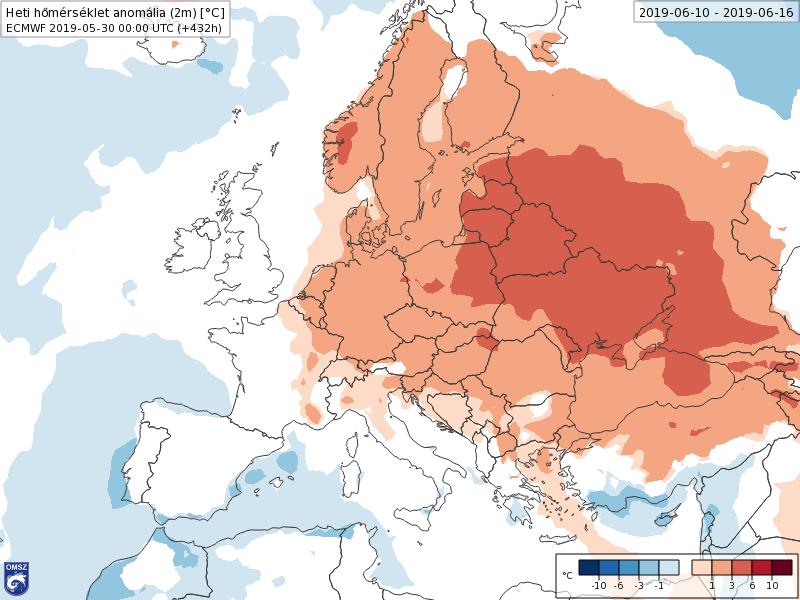Anomalías Temperaturas Junio 2 semana ECMWF