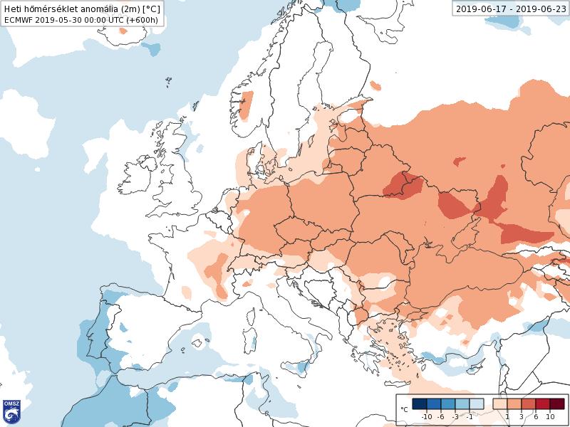 Anomalías Temperaturas Junio 3 semana ECMWF