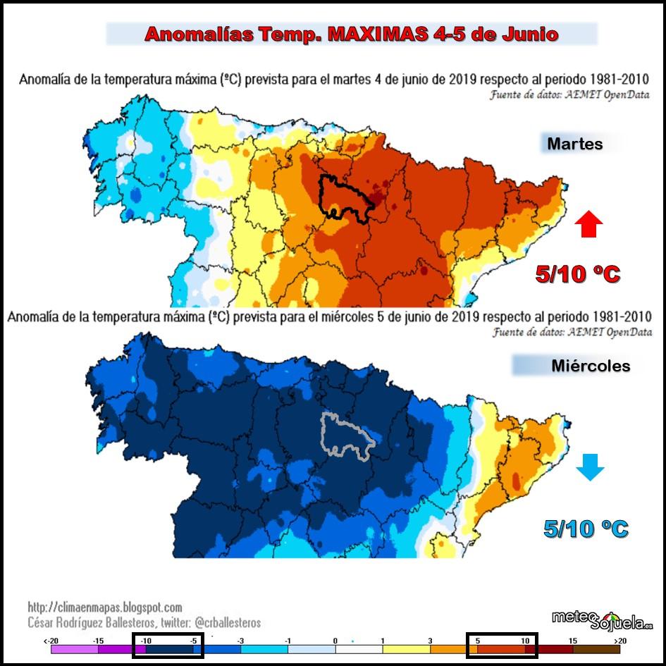 Anomalías Temperaturas Máximas. CR Ballesteros. Meteosojuela