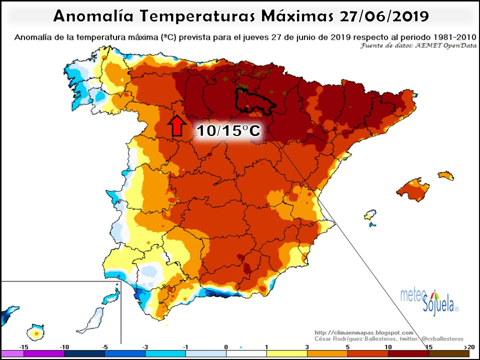 Anomalías térmicas Temperaturas Máximas. AEMET. Meteosojuela
