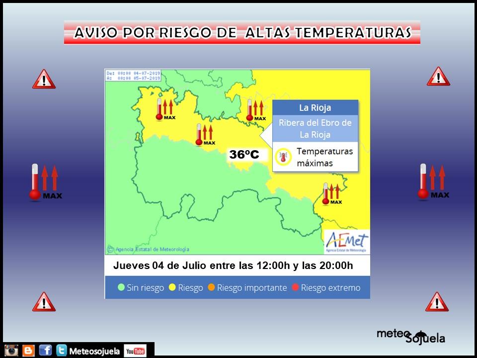 Aviso altas temperaturas AEMET.Meteosojuela