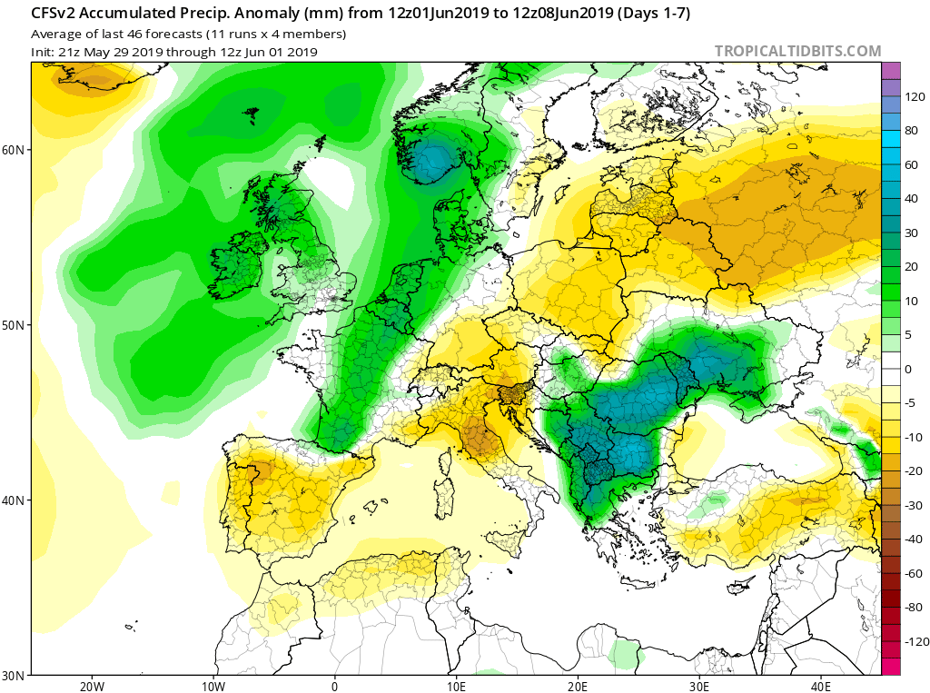 Modelos de precipitaciones semanales Junio GFS 1S Jose Calvo. Meteosojuela La Rioja.