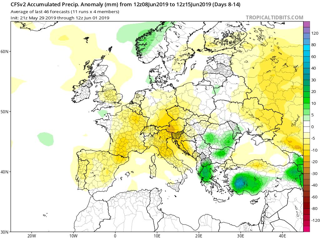 Modelos de precipitaciones semanales Junio GFS 2S Jose Calvo. Meteosojuela La Rioja.