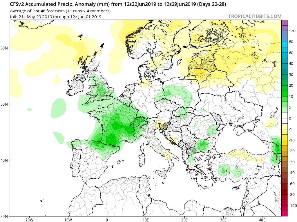 Modelos de precipitaciones semanales Junio GFS 4S Jose Calvo. Meteosojuela La Rioja.