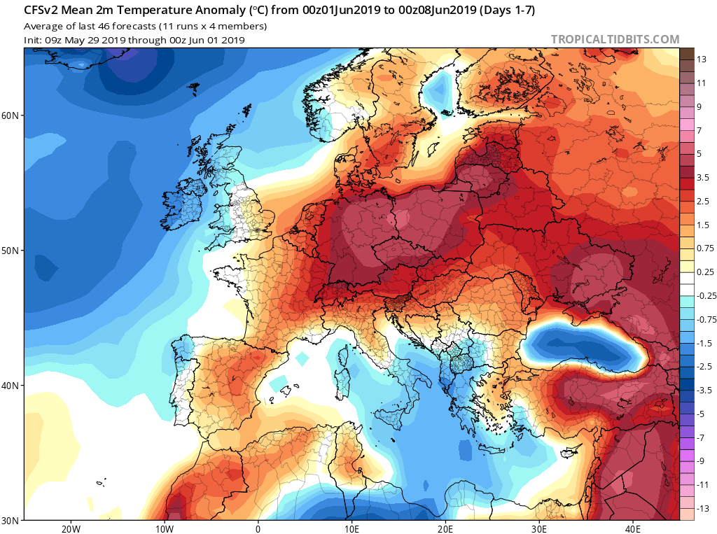 Modelos de temperaturas semanales Junio GFS 1S Jose Calvo. Meteosojuela La Rioja.