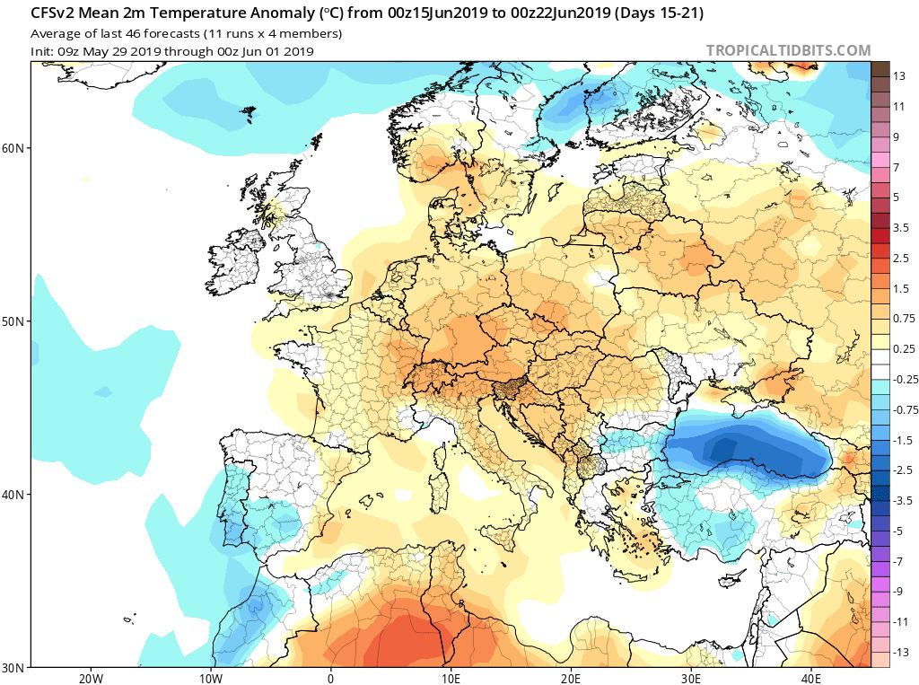 Modelos de temperaturas semanales Junio GFS 3S Jose Calvo. Meteosojuela La Rioja.