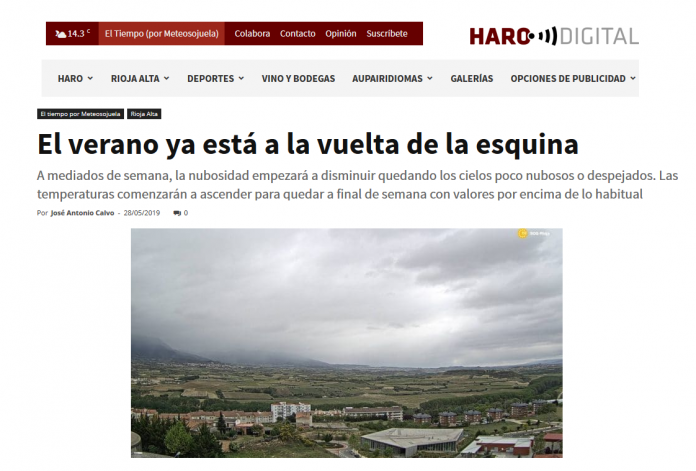Portada Harodigital.com 28052019 Meteosojuela. La Rioja