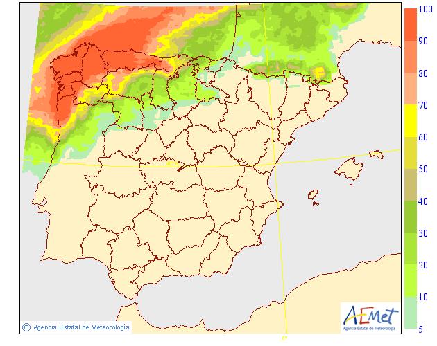 Probabilidad de precipitación AEMET. 02 Meteosojuela La Rioja