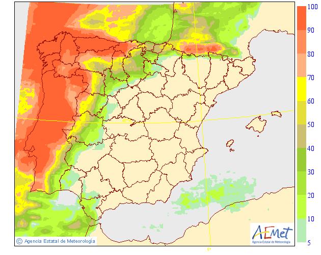 Probabilidad de precipitación AEMET. 19