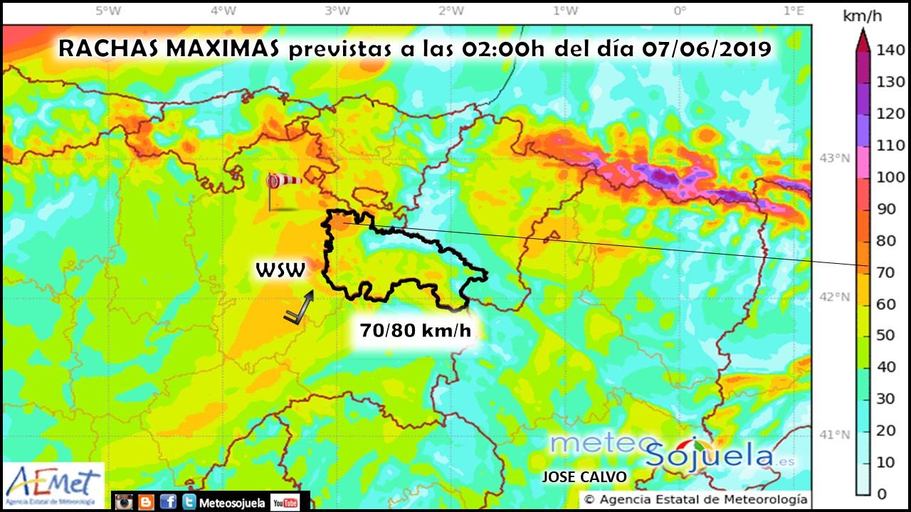 Rachas máximas de viento previstas por el modelo HARMONIE
