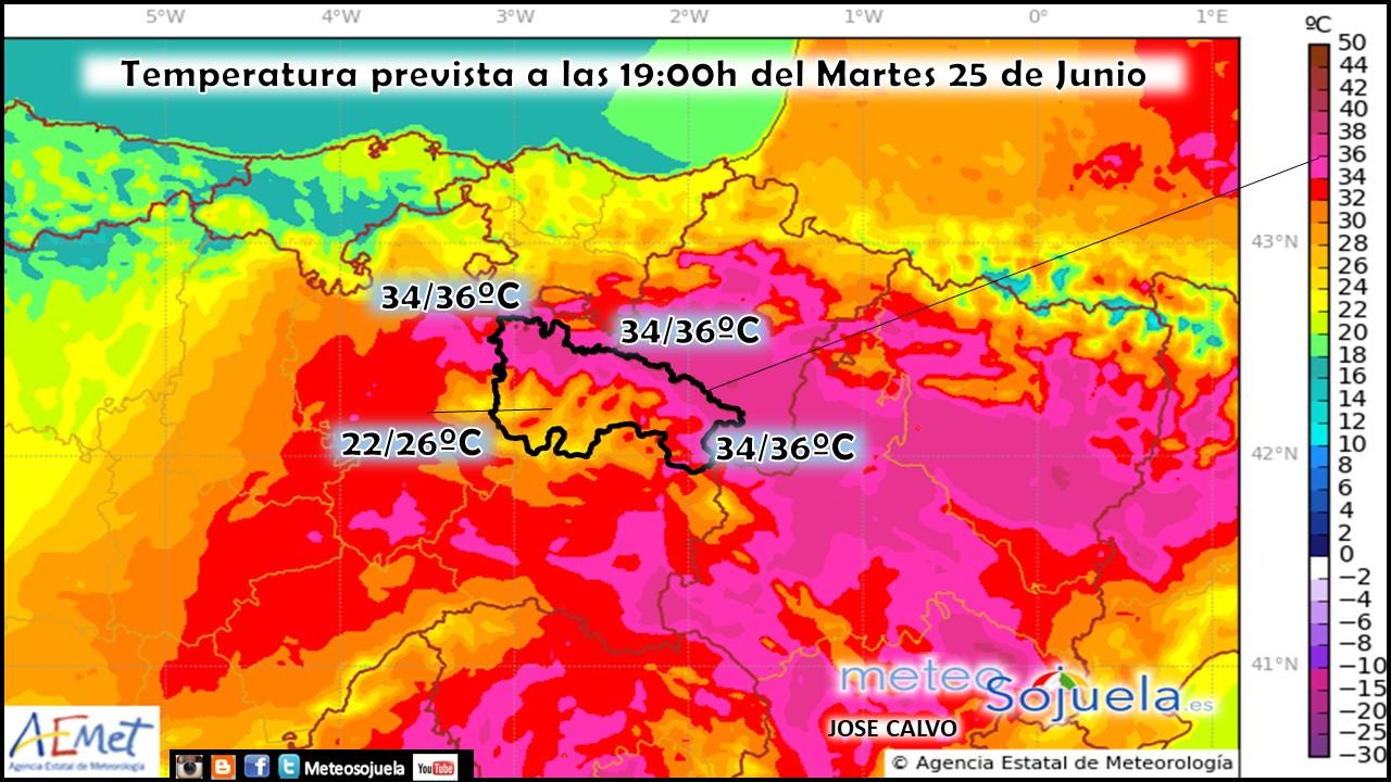 Temperatura Máxima Prevista modelo Harmonie. Meteosojuela