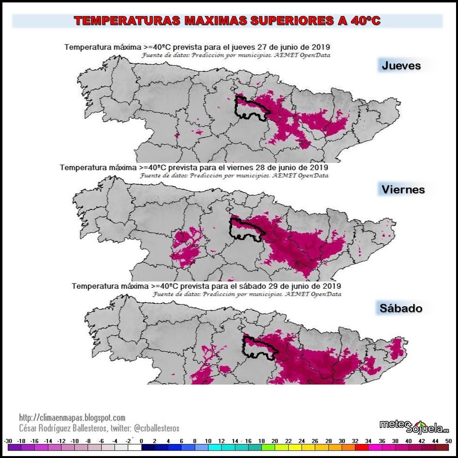 Temperaturas máximas superiores a 40ºC
