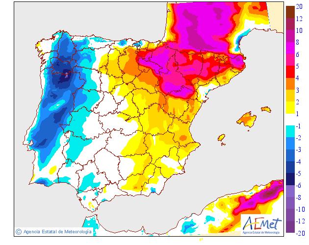 Variación de temperaturas máximas AEMET.23 Meteosojuela