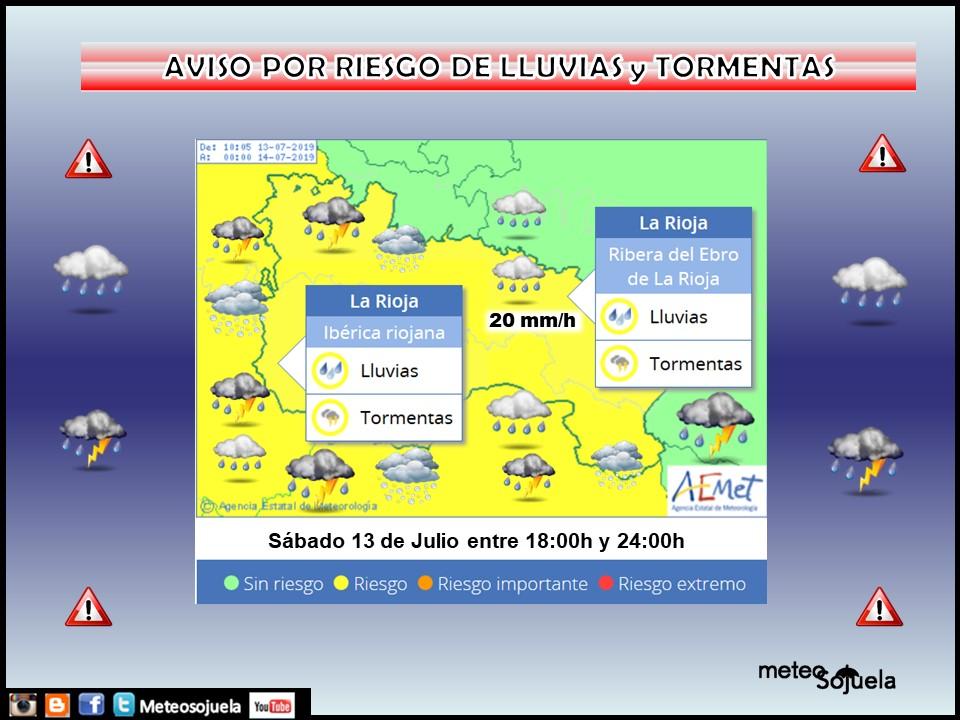 AVISO Amarillo por LLuvias y Tormentas AEMET. Meteosojuela