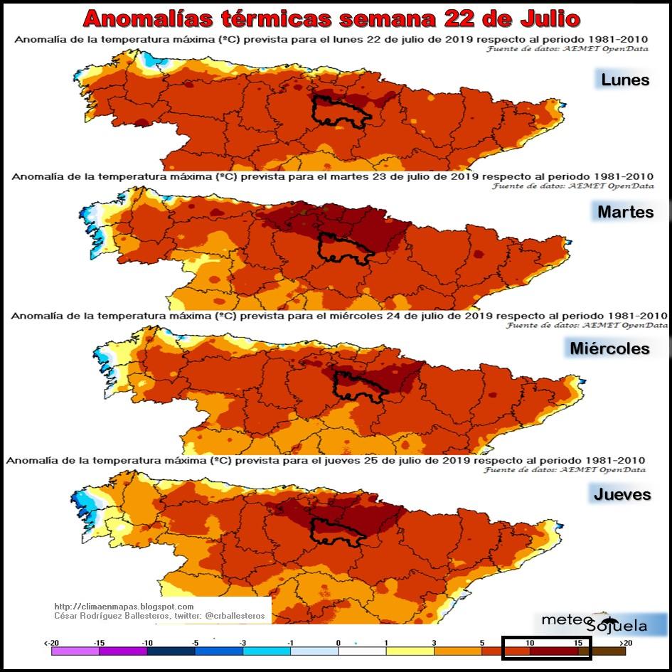 Anomalías Térmicas Temperaturas Máximas. @cesar. Meteosojuela