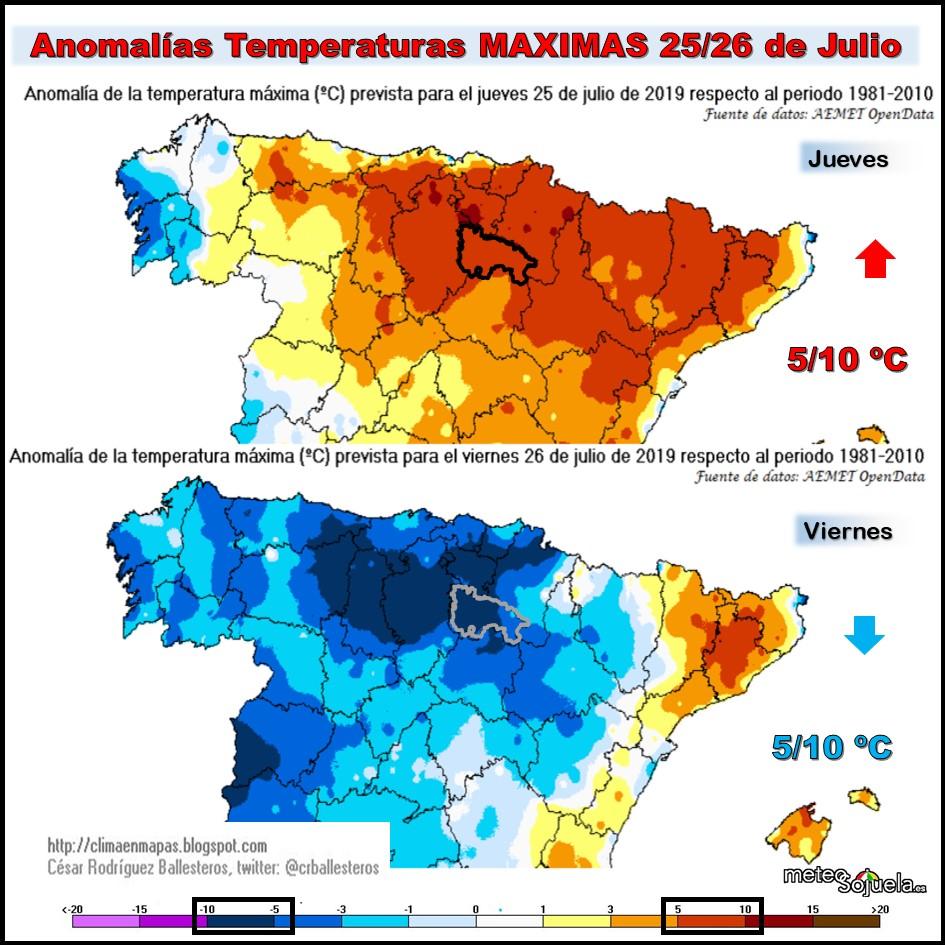 Anomalías Temperaturas Máximas.@cesar. Meteosojuela.