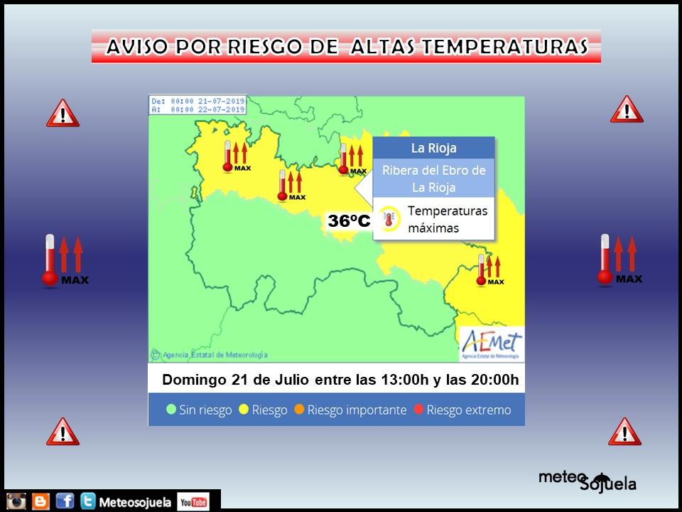 Aviso Amarillo Altas temperaturas AEMET.21 Meteosojuela