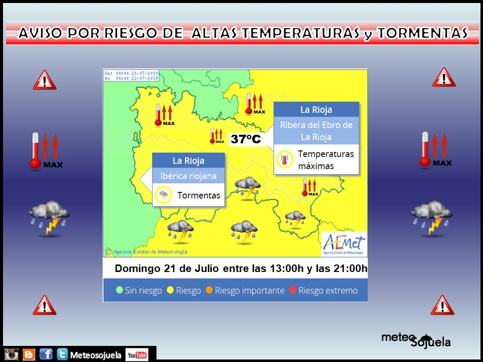 Aviso Amarillo Altas temperaturas y Tormentas AEMET.21 Meteosojuela