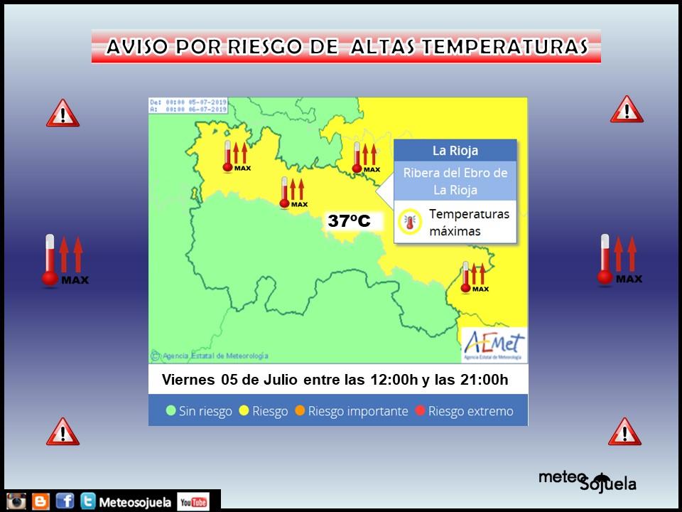 Aviso Amarillo Temperaturas altas. AEMET. Meteosojuela