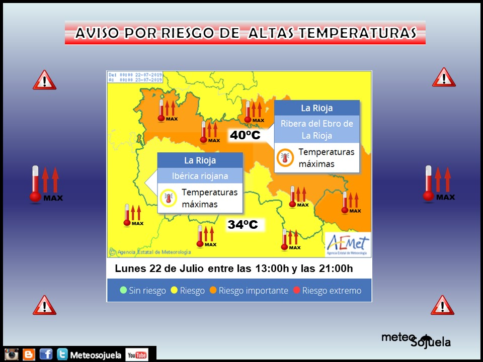 Aviso Amarillo y Naranja Altas temperaturas AEMET.22 Meteosojuela