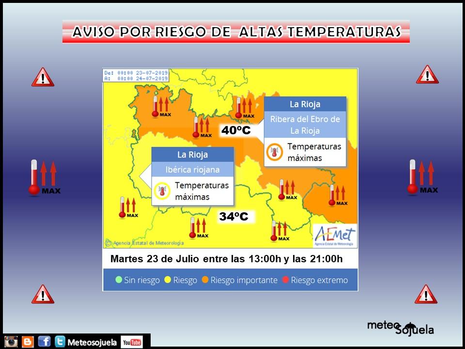 Aviso Amarillo y Naranja Altas temperaturas AEMET.23 Meteosojuela