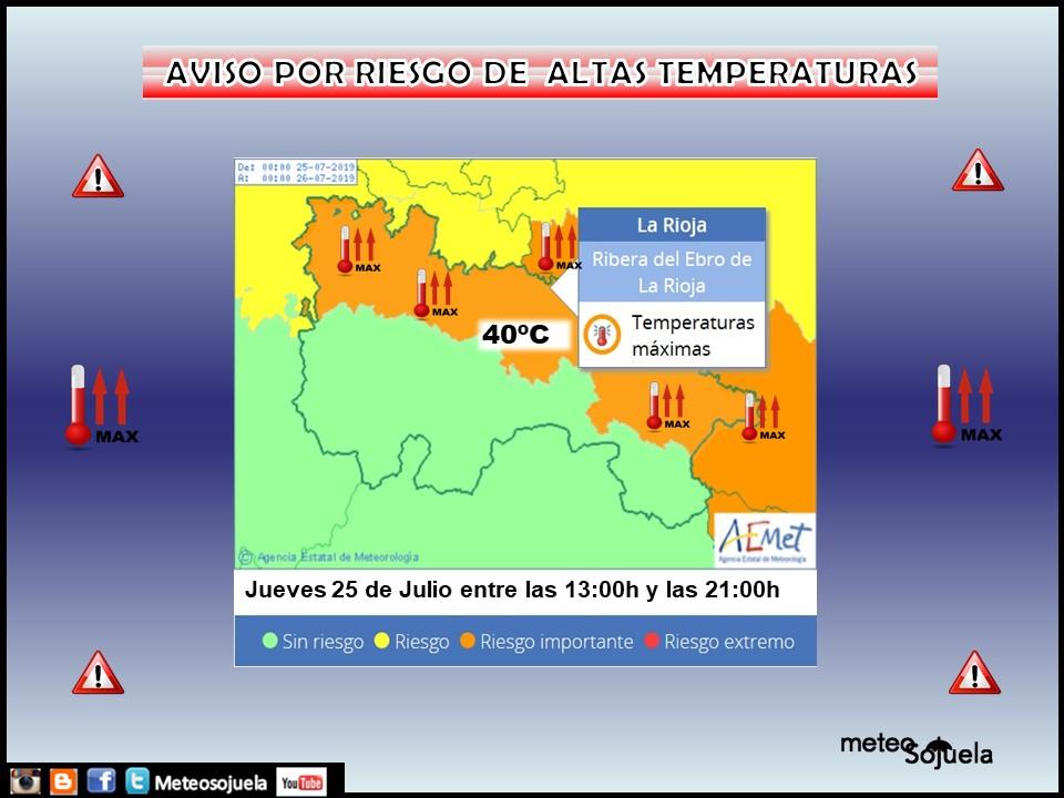 Avisos Naranjas Altas temperaturas AEMET.23 Meteosojuela