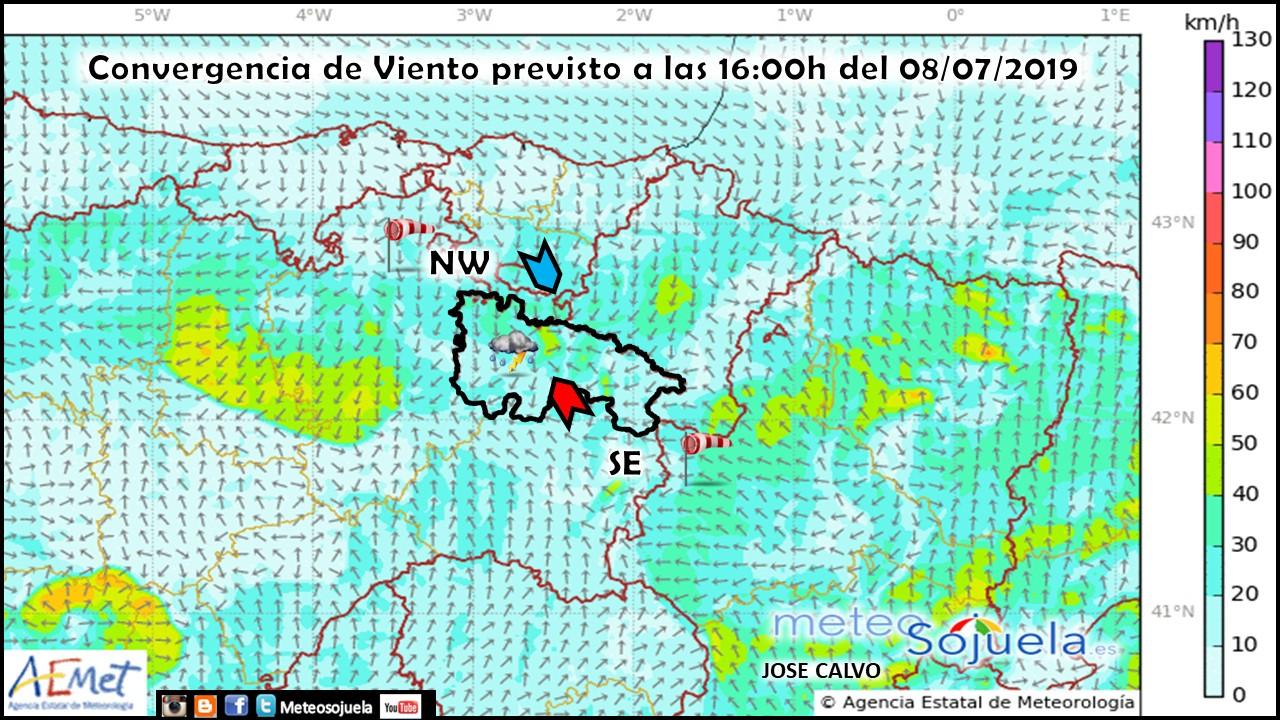Covergencia de vientos en superficie. Meteosojuela
