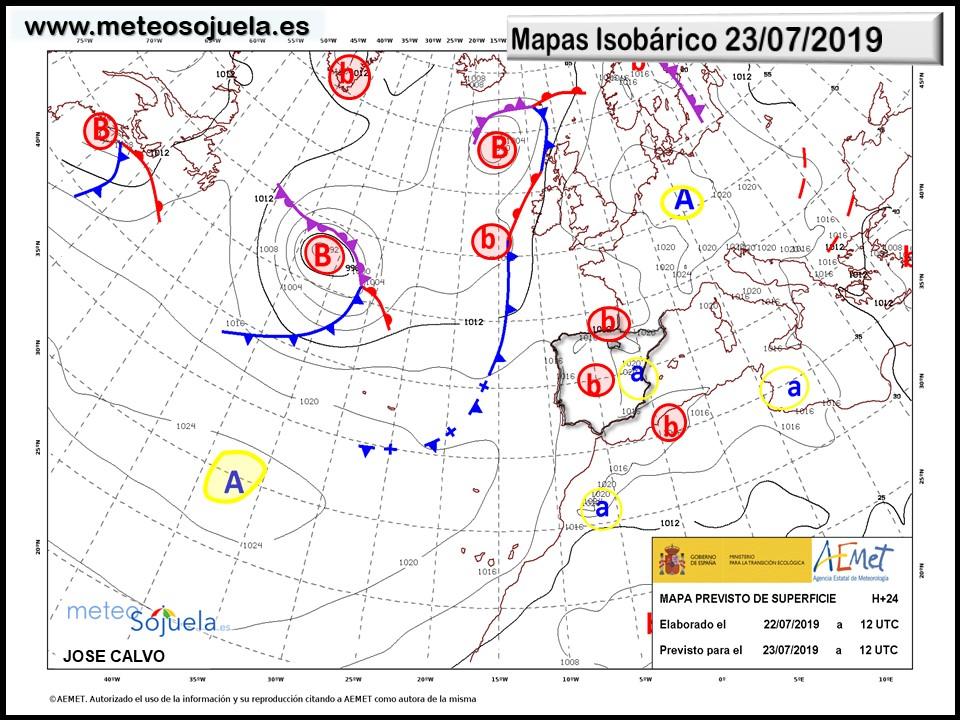 Animación imágenes de satélite. Anticiclón y frente débil Meteosojuela La Rioja