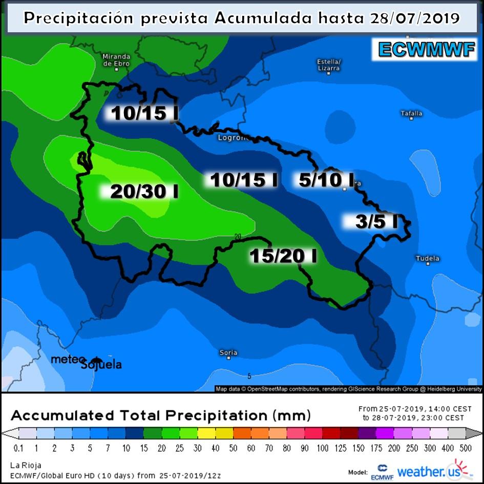 Precipitación acumulada ECWF. Meteosojuela